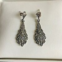 Vintage Pair Sterling Silver Marcasite Ornate Post Drop Earrings Pretty