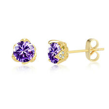 18ct Yellow Gold Purple Amethyst Cubic Zirconia Stud Earrings-Bridal Gift