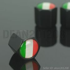 Flag of Italy BLACK auto wheel tyre 4 PCS tire air Valve Stems Cap stem caps NEW