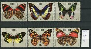266256 LIBERIA 1974 year used stamps set butterflies