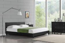 Moderna cama doble tapizada 200x200cm en negro, marcos de piel sintética