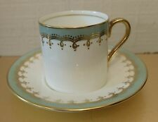 Vintage Deco Cabinet Cup Saucer Aynsley Pale Green Demi Lots of Gold Gilt Swirls