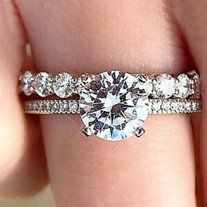 1.95Ct White Round Diamond Engagement Wedding Ring Set Solid 925 Sterling Silver