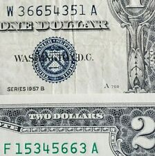 OPPOSITE MATCHING Serial Number $1 Silver Certificate & CU $2 Dollar Bill / Note
