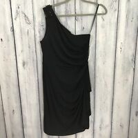 London Times NWT Dress One Shoulder Size 12 Black Stretch Lined