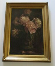 E.K.P SIGNED 19TH CENTURY IMPRESSIONISM PAINTING STILL LIFE FLOWER FLORAL VASE