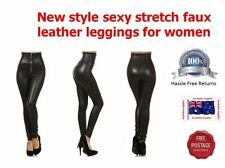 Leather Polyester Regular Machine Washable Pants for Women