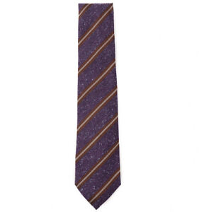 NWT $230 ISAIA NAPOLI 7-Fold Purple Donegal Melange Silk-Wool-Linen Tie