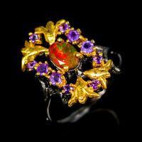 Orange Opal Ring Silver 925 Sterling Beauty Rainbow7x5mm Size 8.5 /SRF20-13-1