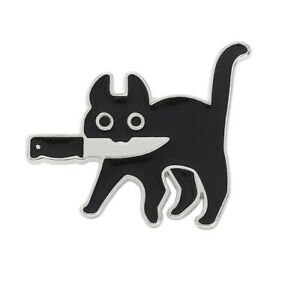 Halloween Black Cat Witch Cute Knife Enamel Brooches Badges Lapel Pins