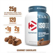 Dymatize ISO 100 Hydrolyzed 100% Whey Protein Gourmet Chocolate 25g Protein 3Lb