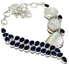"""Mother Of Pearl, Blue Sapphire Gemstone Silver Jewelry Necklace 18"""" MQR-272"""