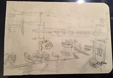 Dessin Charles Kiffer 1902 1992 Marine port barques et portrait env 1950 cachet