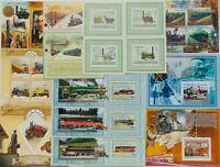 STEAM LOCOMOTIVES trains railway 100 diff. sheets MNH Sale Lot FREE SHIP #SL07