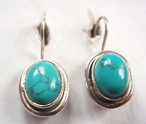 Blue Turquoise Oval 925 Sterling Silver Wire Back Earrings Corona Sun Jewelry