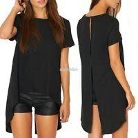 Women Ladies Backless Split Long T-Shirt Short Sleeve Blouse Shirt Top S-XL