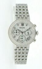 Bulova Women's Quartz Diamond Accents Silver-Tone Bracelet 34mm Watch 96R204