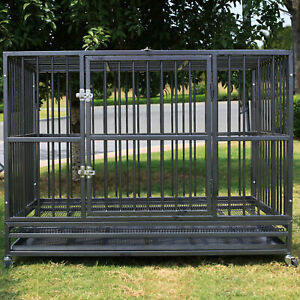 """48"""" Heavy Duty Strong Metal Pet Dog Cage Crate Kannel Playpen w/Wheels&Tray"""
