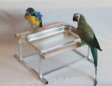 PAPPAGALLI vasca da bagno in acciaio inox per volatili pappagalli liberamente in piedi ** NUOVO **