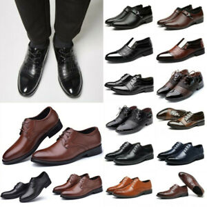 Men Formal Dress Leather Oxfords Shoes Business Pointed Toe Wedding Office Shoes