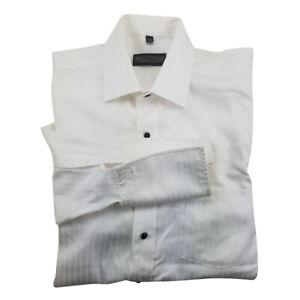 Donald Trump Embossed Stripe Shirt Size 16 1/2-34/35 Cotton White French Cuff