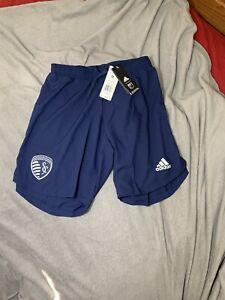 NWT Men's Adidas AeroReady MLS Kansas City Sporting Soccer Shorts Sz XXL EH6254