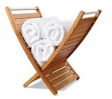 A-Grade Teak Towel Holder Rack Bathroom Spa Pool Storage Indoor Outdoor Patio