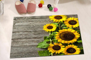 Rustic Wood Board Sunflower Green Leaves Non-slip Rug Floor Door Carpet Bath Mat