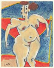 BIG GIRL abstract/nude/folk/outsider? Canadian mixed media painting J.Swinton NR
