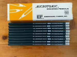 """Lot 9 New Vintage Eberhard Faber Microtomic Woodclinched """"4H"""" Drawing Pencils"""