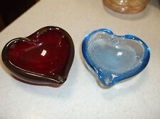 Pair of Murano Glass Heart bowls salts