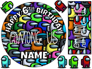 """AMONG US INSPIRED 6"""" / A3 SHEET PERSONALISED EDIBLE ICING CAKE TOPPER"""