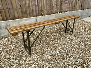 Rustic Wooden Folding Trestle Bench 6ft Wooden Ex Army Farmhouse Pub Seating