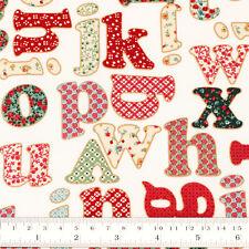 Cotton Fabric FQ Rose Floral Gingham Plaid Polka Dot Spot English Alphabet VS36