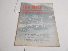 #MISC-2538 CAR RACING PROGRAM - AUG 27 1960 - 100 MILE MIDGET RACE - MILWAUKEE