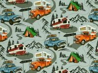 FAT QUARTER NOVELTY FABRIC  HAPPY CAMPERS  TRAILERS  SUMMER VACATION  COTTON  FQ