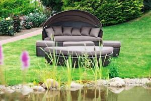 Merxx Gartenmöbel-Set Relaxinsel Riva 5-teilig Ø180 cm inkl. Auflagen und Kissen