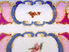 Antiguo Porcelana Pintada A Mano PLATO de abalorio cómoda Bandeja Limoge Hermosos Colores