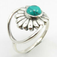 Discount Jewelry Natural Cabochon TURQUOISE Ring Size 7.75 925 Sterling Silver
