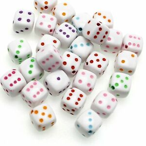 100 White with Mixed Colour Acrylic Cube Dice Beads 8X8mm Diagonal Hole Funny