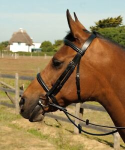 Heritage English Leather Bridle With Cavesson Noseband PONY - BLACK - BRAND NEW