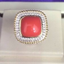 Rope Motif  Cabochon Natural Coral with White diamonds Ring in14k yellow gold