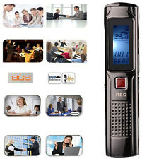 8GB USB Steel Rechargeable Digital Voice Sound Recorder Dictaphone MP3 Player UK