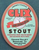 CLIX Stout Grand Valley Brewing Ionia Michigan antique Beer Bottle Label