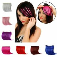 Women Girls Clip On Clip In Front Hair Bang Fringe Hair Extension Piece Thin