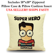 "18x18 18"" SUPER MAN SUPERMAN CLARK KENT Throw Zippered Pillow Cushion Marvel"