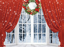 10x8ft Christmas Wreath Snow Window Red Curtains Photo Background Vinyl Backdrop