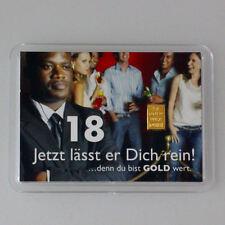 1 Gramm Gold 999,9 + Zertifikat ► 1g Feingoldbarren ► 18. Geburtstag Geschenk