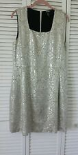 DKNY size 12 silver metallic sleeveless dress, acetate rayon wool poly
