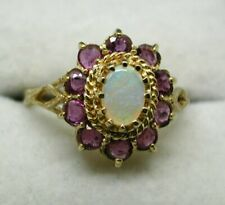 Beautiful 9 carat Gold Opal And Pink Topaz Dress Cluster Ring Size O